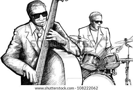 Vector illustration of a jazz band with double bass and drum