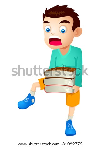 Vector illustration of a kid carrying books - stock vector