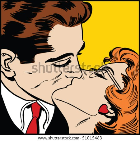 Vector illustration of a kissing couple in a pop art/comic style. - stock vector