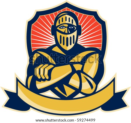 vector illustration of a knight arms crossed with shield - stock vector