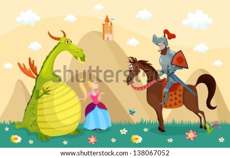 vector illustration of a knight, dragon and princess - stock vector