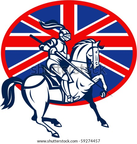 vector illustration of a Knight on horse with lance and British or great Britain flag - stock vector