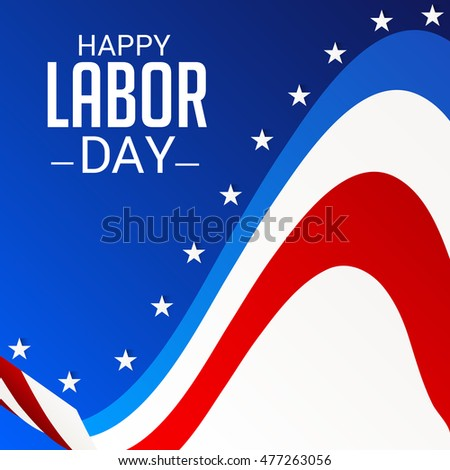 Vector illustration of a Labor day card with colorful wave.