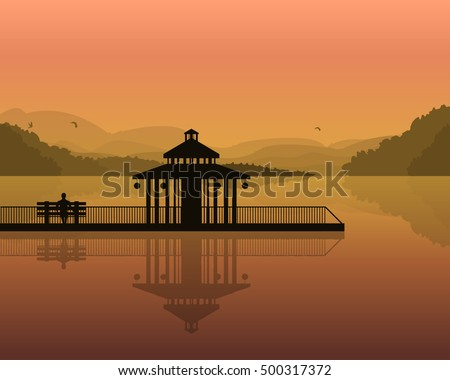 vector illustration of a landscape-silhouette of a bench and house on the background of the mountains, the sky with reflection in water.