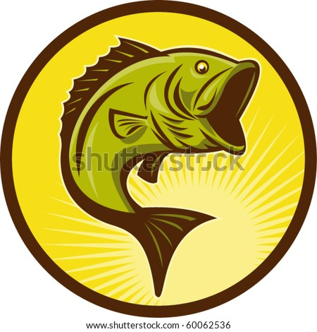 vector illustration of a Largemouth Bass fish jumping done in retro woodcut style - stock vector
