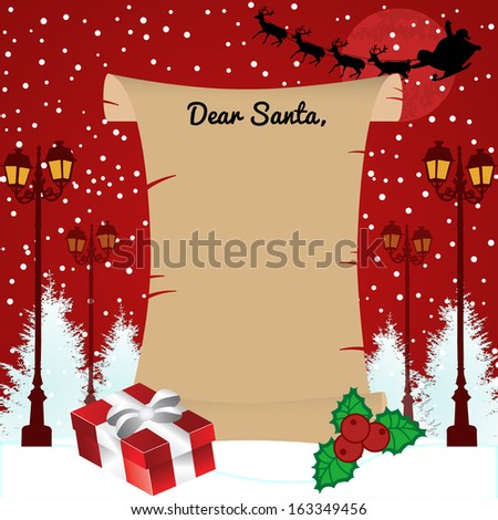 Vector illustration of a letter for Santa Claus in front of beautiful winter landscapr - stock vector