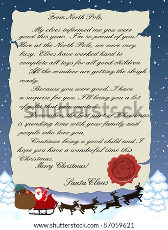 Vector illustration of a letter from Santa Claus - stock vector