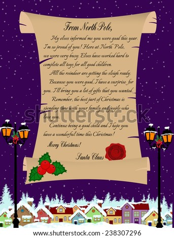 Vector illustration of a letter from Santa Claus on purple - stock vector