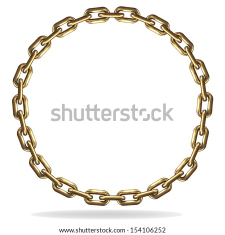 Vector Illustration of a letter O from a gold chain on a white background - stock vector