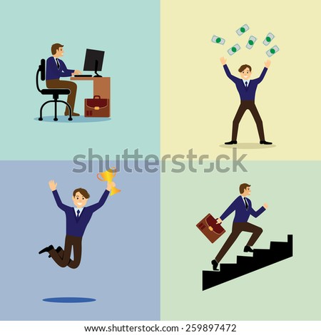 Vector illustration of a life of a businessman. Work, victory, reward, climbing the career ladder. - stock vector