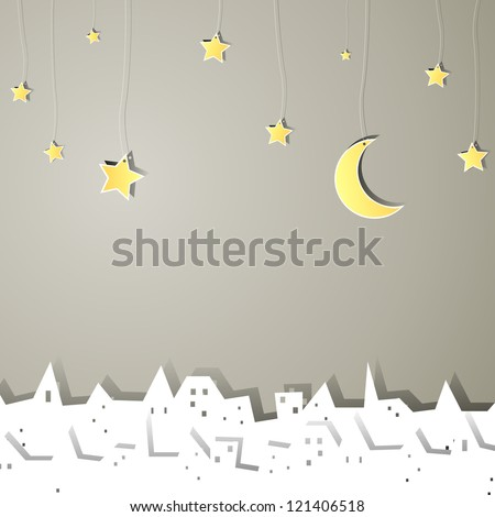 Vector Illustration of a Little Abstract Town at Night