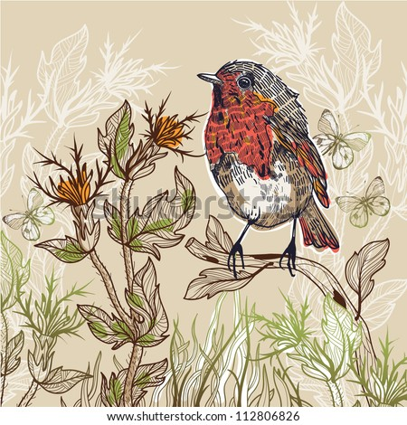 vector illustration of a little bird with butterflies and plants - stock vector