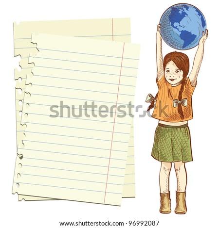 Vector illustration of a little girl holding globe above her head - stock vector