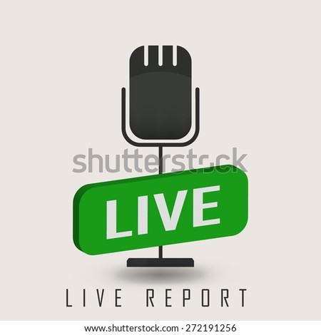 vector illustration of a live report with microphone and sign on air - stock vector