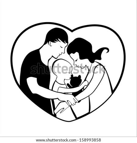 Vector Illustration Loving Family Heart Frame Stock Vector HD ...