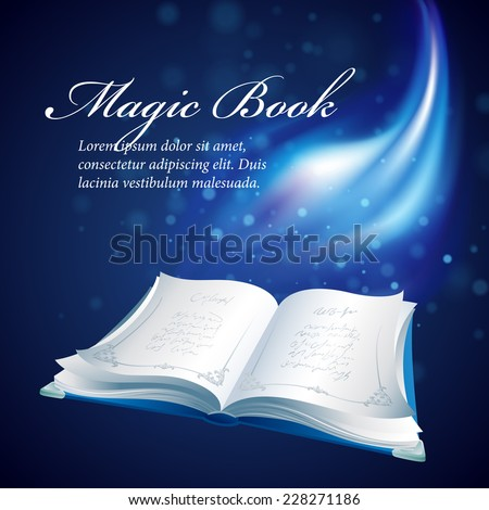 Vector illustration of a magical book - stock vector