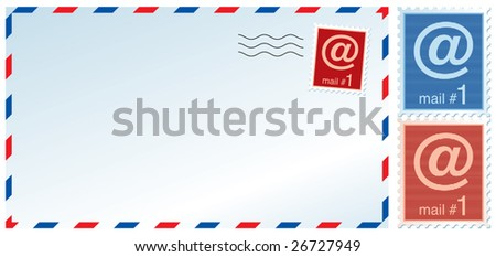 Vector illustration of a mail envelope and stamps with e-mail sign. - stock vector