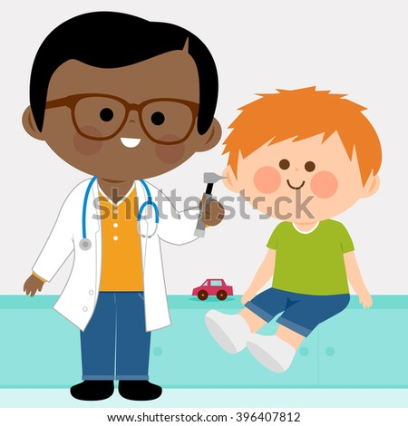 Vector illustration of a male pediatrician examining a little boy with an otoscope   - stock vector