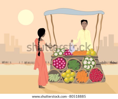 vector illustration of a male street vendor selling vegetables to a woman from his stall on an asian city street in eps 10 format - stock vector