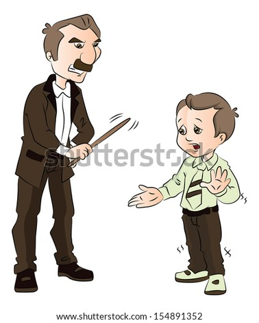 Vector illustration of a male teacher beating schoolkid with stick. - stock vector