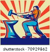vector illustration of a male worker or blacksmith striking hammer and anvil with sunburst in background done in retro style - stock vector