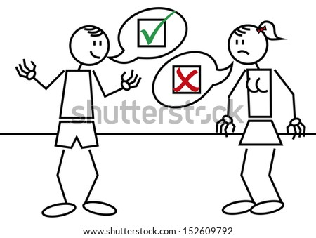 Vector illustration of a man and a woman with accepted and rejected symbols - stock vector