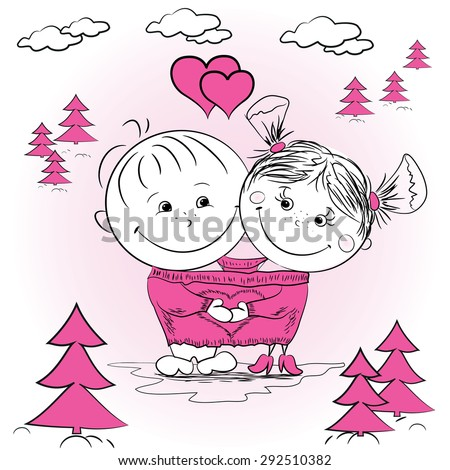 Vector illustration of a man and woman in love in one big jumper - stock vector