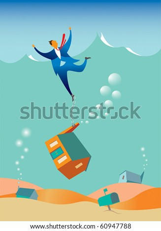 Vector illustration of a man being dragged under water by his house (mortgage) which is chained to his leg. - stock vector