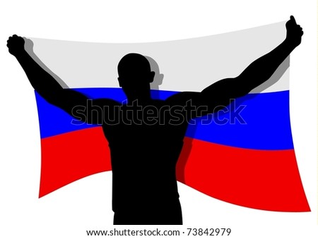 Vector illustration of a man figure carrying the flag of Russia - stock vector