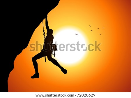 Vector illustration of a man figure hanging on the cliff - stock vector