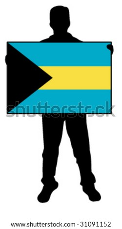 vector illustration of a man holding a flag of bahamas - stock vector