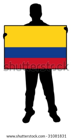 vector illustration of a man holding a flag of colombia - stock vector