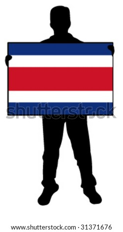 vector illustration of a man holding a flag of costa rica - stock vector
