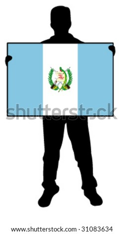 vector illustration of a man holding a flag of guatemala - stock vector