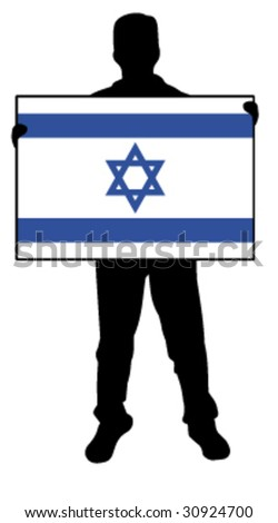 vector illustration of a  man holding a flag of israel - stock vector
