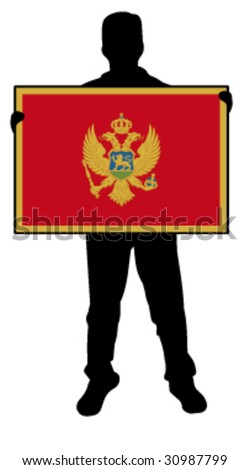 vector illustration of a  man holding a flag of montenegro - stock vector