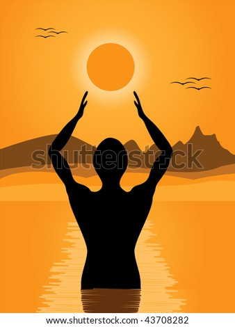 vector illustration of a man in a river praying at sunrise - stock vector