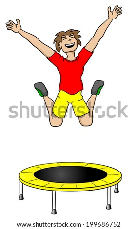 vector illustration of a man on a trampoline - stock vector