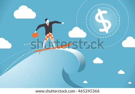 vector illustration of a man on a wave of success, dollar, business illustration, vector character