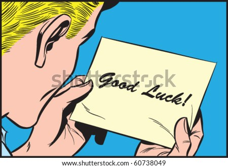Vector illustration of a man reading a note - stock vector