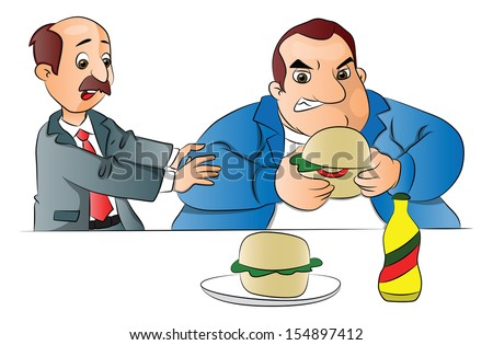 Vector illustration of a man stopping a fat friend from eating unhealthy hamburger. - stock vector