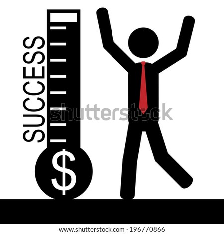Vector / illustration of a man that is happy for winning money and success. - stock vector