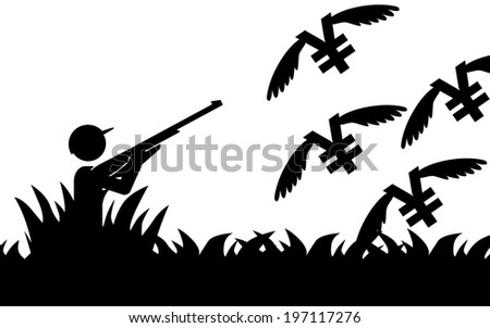 Vector / illustration of a man that is hunting flying yens. - stock vector