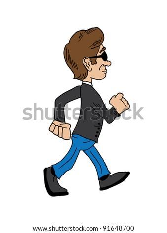 Vector illustration of a man walking - stock vector