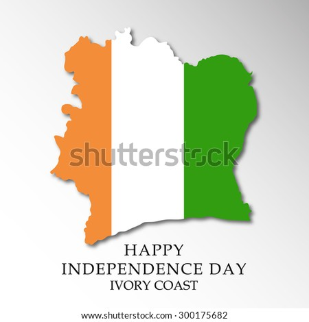 Vector illustration of a Map for Ivory Coast Independence Day. - stock vector
