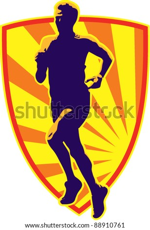 vector illustration of a marathon runner running jogging with sunburst on isolated white background done in retro style
