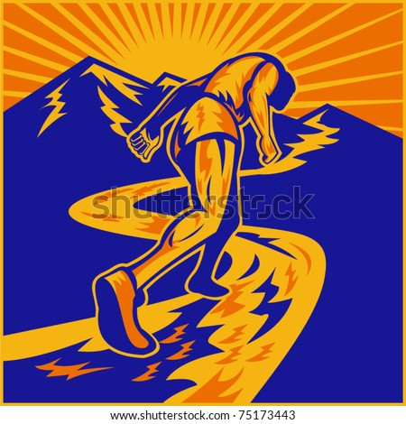 vector illustration of a marathon runner running on road with mountains in background done in retro woodcut style viewed from a low angle - stock vector