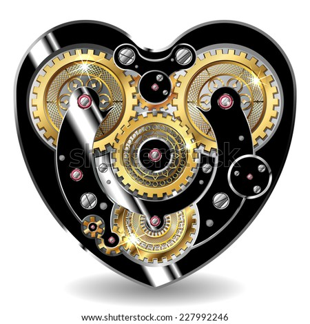 vector illustration of a mechanical heart in the steampunk style isolated on white - stock vector
