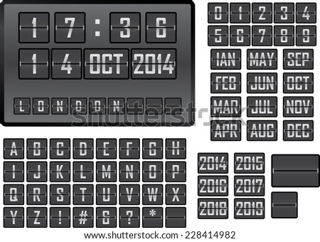 Vector illustration of a mechanical scoreboard display - stock vector