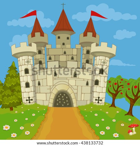 Vector illustration of a medieval stone  castle on a hill.